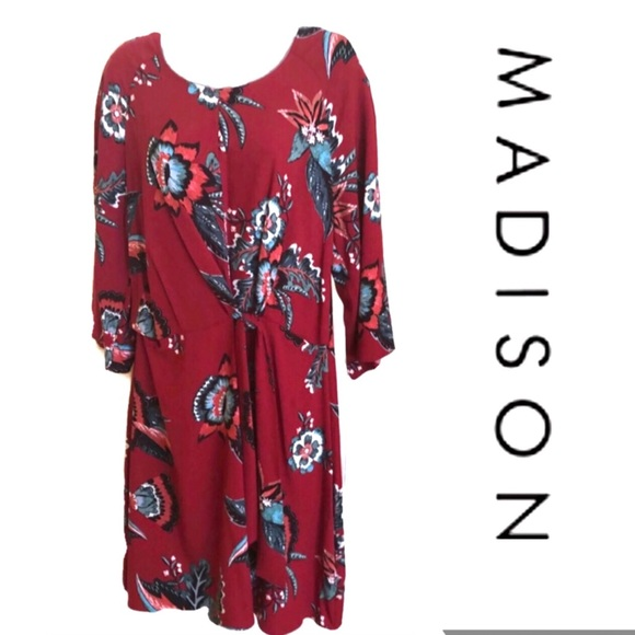 Madison Dresses & Skirts - Red Dress MADISON Faux Tie Front NWT